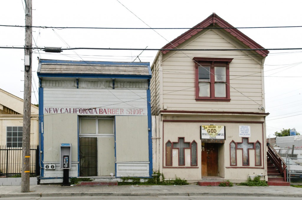New California Barber Shop and the House Of God Spiritual Temple, Dogtown, Oakland, 2002
