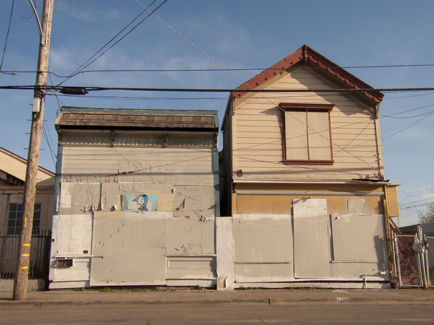 The New California Barber Shop and the House Of God Spiritual Temple, Dogtown, Oakland, mid 2009.