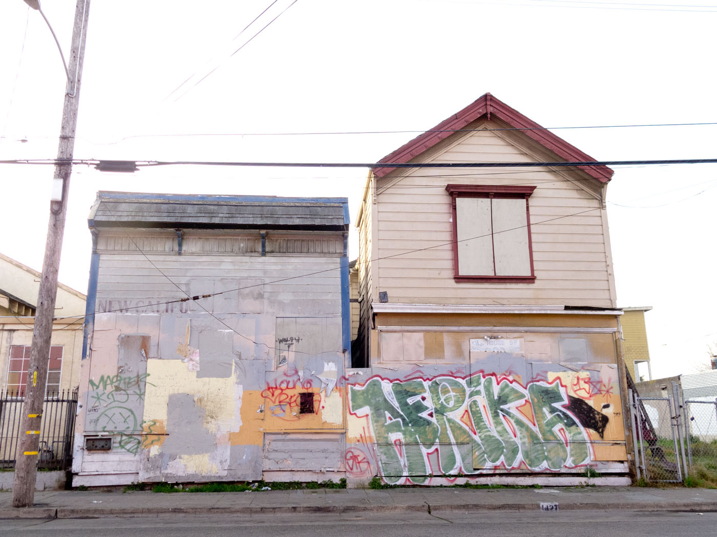 The New California Barber Shop and the House Of God Spiritual Temple, Dogtown, Oakland, early 2012.