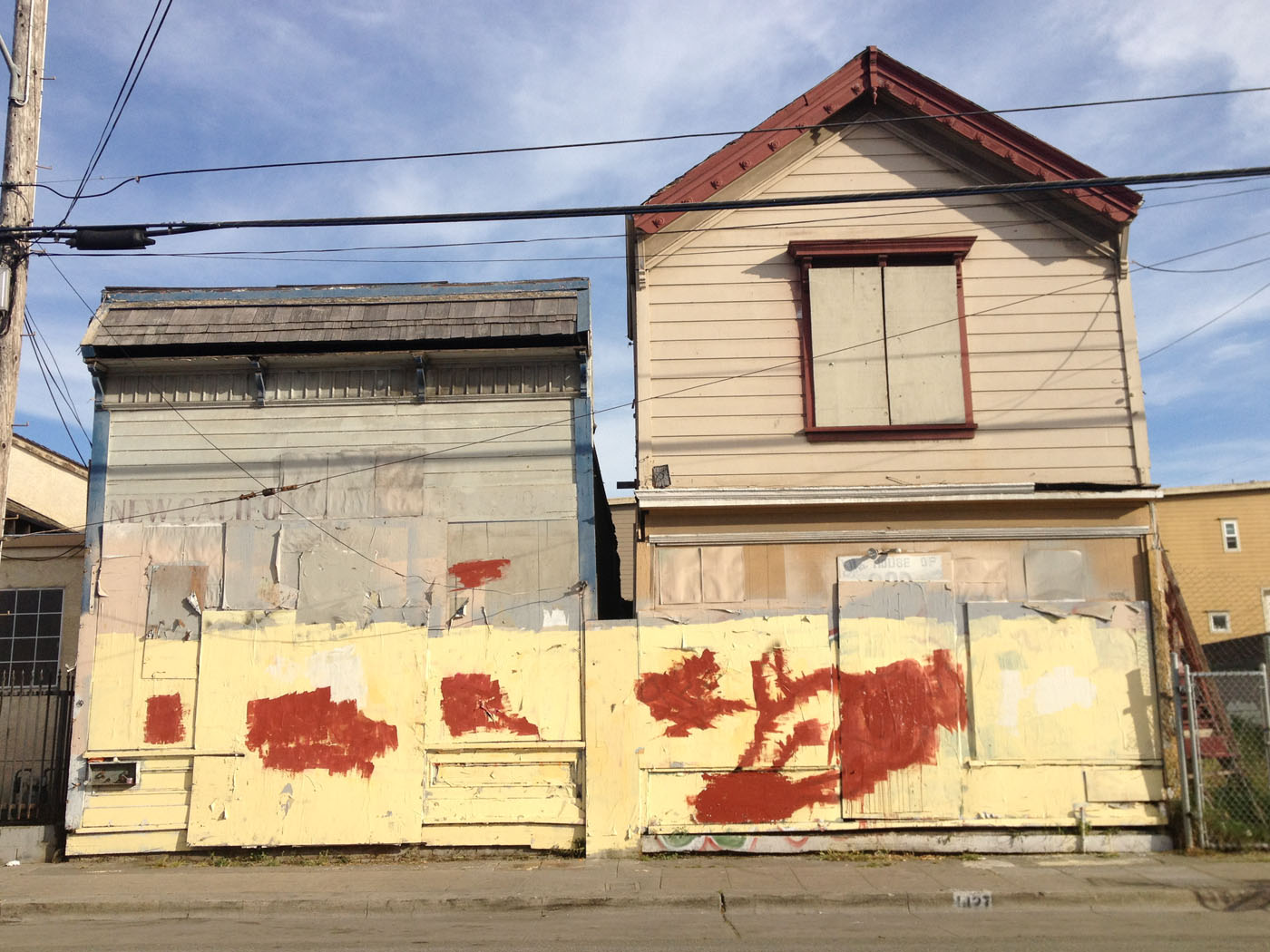 The New California Barber Shop and the House Of God Spiritual Temple, Dogtown, Oakland, mid 2012.