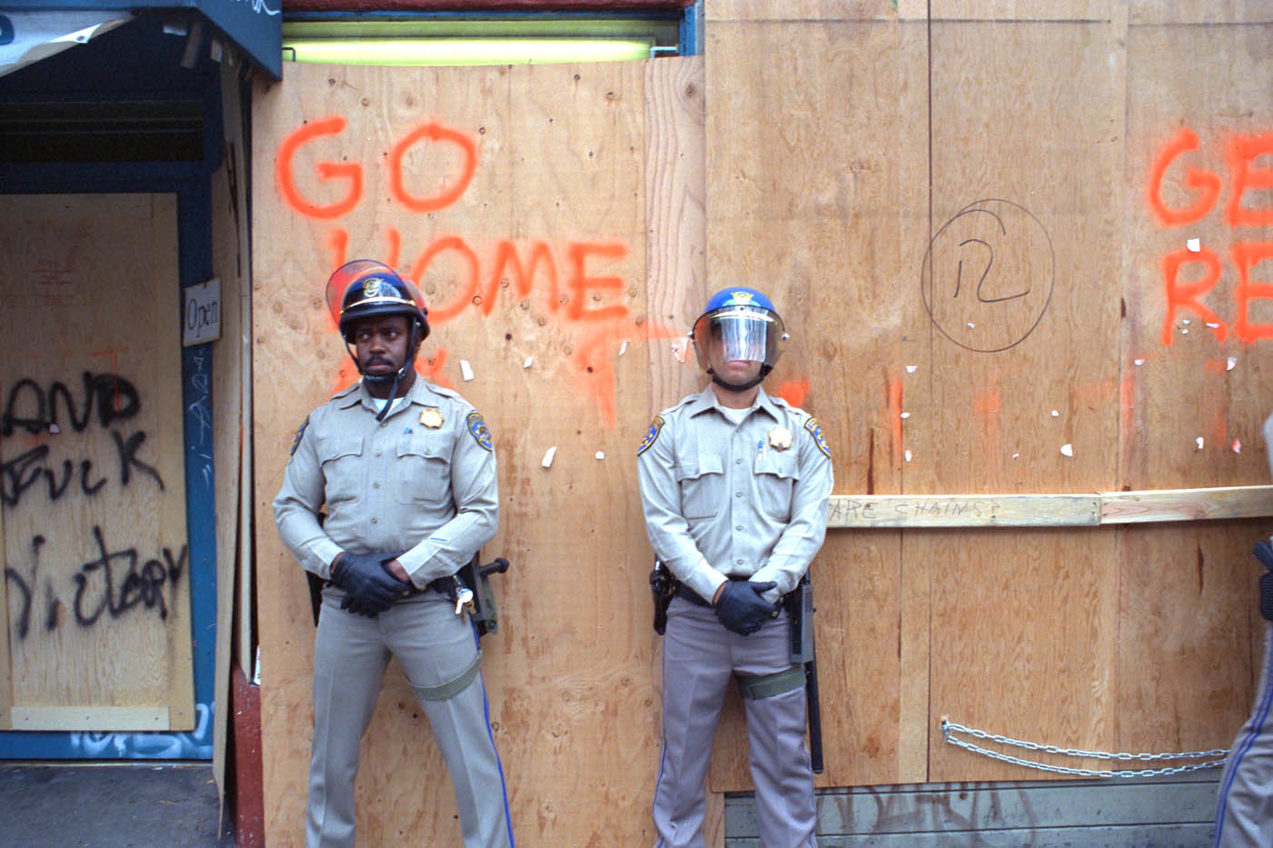 Telegraph Avenue boarded up during the 1991 Berkeley People's Park riots
