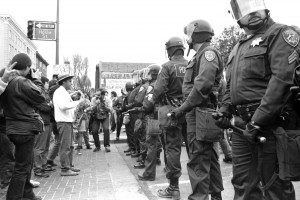 Haste and Telegraph during the People's Park riots, Berkeley 1991