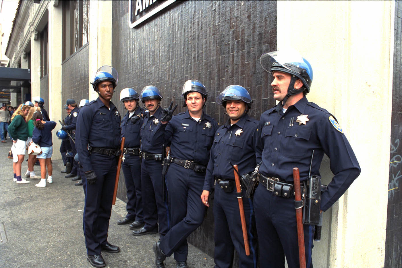 Police officers lurking on Telegraph Avenue during the Berkeley People's Park riots, 1991