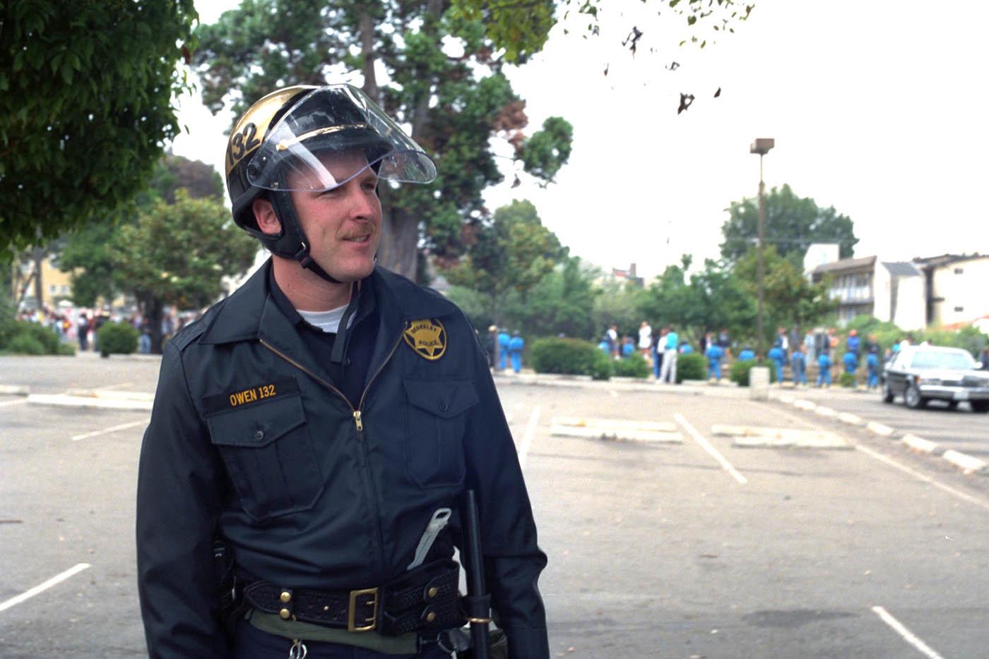 Officer Owen ,BPD, during the Berkeley People's Park riots, 1991.