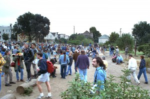 People's Park during the riots, Berkeley 1991.