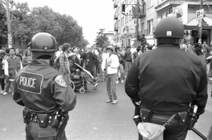 Teegraph and Haste during the People's Park riots, Berkeley 1991