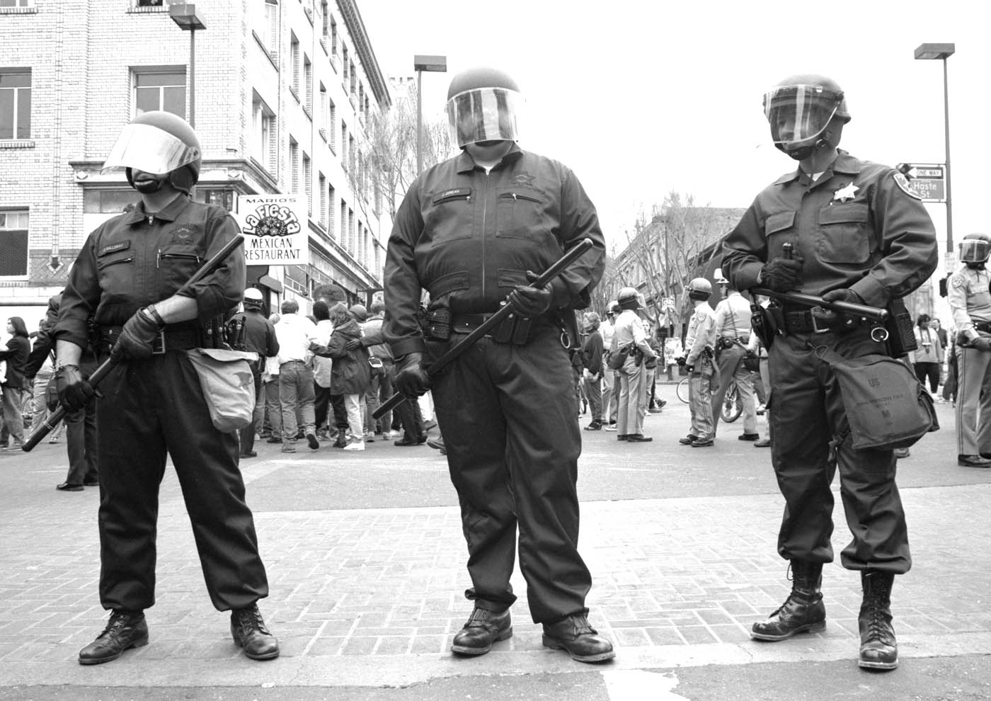Telegraph and Dwight during the Berkeley People's Park riots, 1991.
