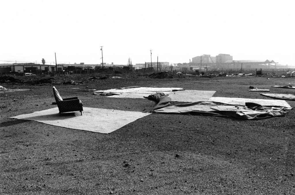 Looking across the then open field towards Barbary Coast Steel at what's now the Marriott Courtyard Hotel in Emeryville (1989?).