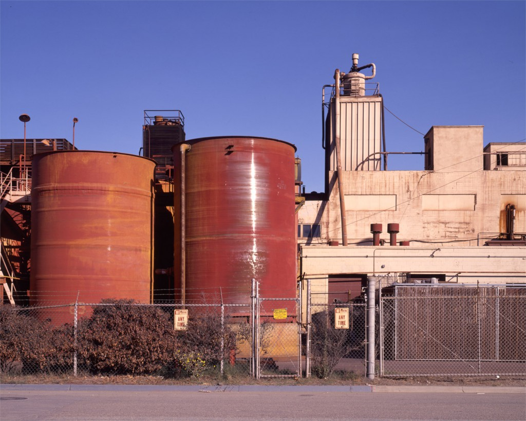A close up view of the old Pigment Factory, Shellmound Street, Emeryville, early 1990's. Now the site of the Bay Street Mall.