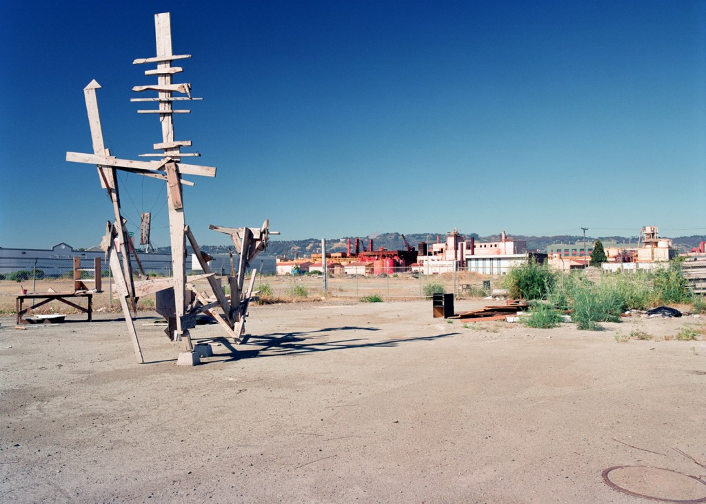 More roadside art, Frontage Road, Emeryville, late 1980's or early 1990's. You can see the old pigment factory in the back ground where the Bay Street Mall is now.